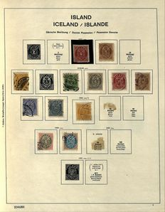 Iceland 1873/1960 - Collection on old album pages with Official Stamps
