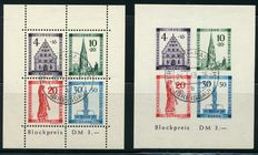 French Zone Baden 1949 - Rebuilding - Michel Block 1A and 1B signed Schlegel BPP