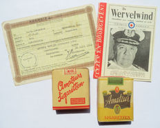 Lot with an Ausweis from Eindhoven, 2 full packs of original Dutch amateur cigarettes and an issue of the 'Wervelwind' magazine from the Second World War
