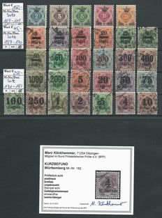 Württemberg 1906/1923 - 3 signed sets - Michel 107/111, 159/170 and 171/183