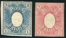Old Germany, Schleswig-Holstein 1850 - German eagle with Coat of armor - Michel 1 and 2