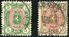 Finland 1885 - Coat of arms - Michel 25 and 26
