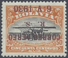 Bolivia 1930 - Air Mail, Inverted - Scott C16 variety with certificate