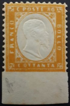 Italy 1862 - Vittorio Emanuele II 80 c. yellow orange not perforated at the bottom with integral edge - Sassone 4l