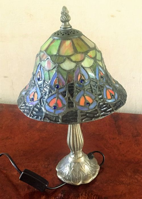 hanging lamp tiffany style stained glass hanging lamp blue panel. Black Bedroom Furniture Sets. Home Design Ideas