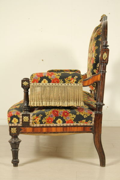 A napoleon iii gilt brass mounted tulipwood and faux bois rosewood canap italy 1880 - Canape vertaling ...