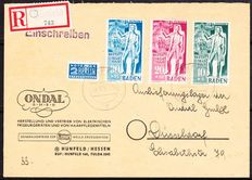 French Zone Baden 1949 - Registered letter with Michel 50/52 and Notopfer Michel 2 CV, signed W. Straub BPP