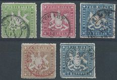 Württemberg 1865/1868 - Compilation Coat of Arms rouletted with 5 stamps - Michel 30b, 31b, 32c, 33b and 35b