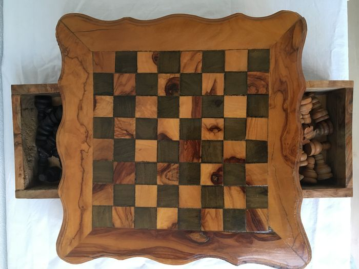 Handmade wooden chess table with pieces catawiki - Wooden chess tables ...