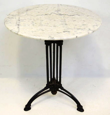 Bistro table with cast iron base and marble top second for Cast iron table base marble top