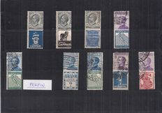 Italy 1924/1925 - Advertising stamps - Sassone 1, 2, 3, 4, 7 perfin, 12, 14, 16