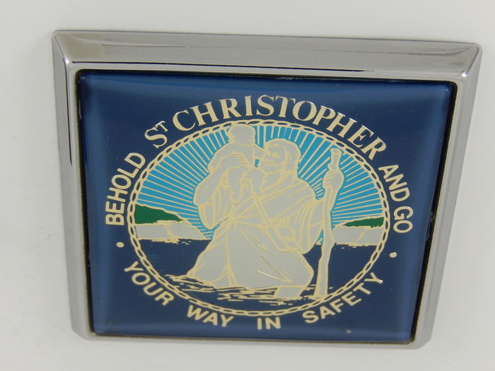vintage st christopher renamel 70 39 s 80 39 s chrome car badge. Black Bedroom Furniture Sets. Home Design Ideas