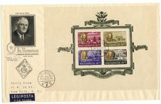 Hungary 1947 - Roosevelt - Michel block 11 and Michel 985/992 on 4 FDCs
