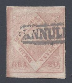 Naples 1858 - 20Gr Pink - Sassone 13c with certificate