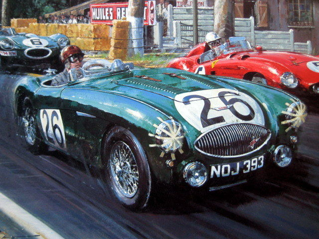 art lithograph sebring at le mans le mans 1955 austin healey 100s macklin leston artist. Black Bedroom Furniture Sets. Home Design Ideas