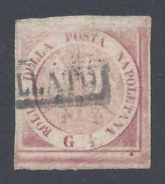 Naples 1858 - 1/2g Red Coat of Arms - Sassone 1c