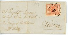 Lombardo Veneto - Cancellations P.8 on 15 Cent.  - Letter from Venzone to Udine.