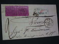 Vatican 1868 - Envelope with pair of Sassone 28
