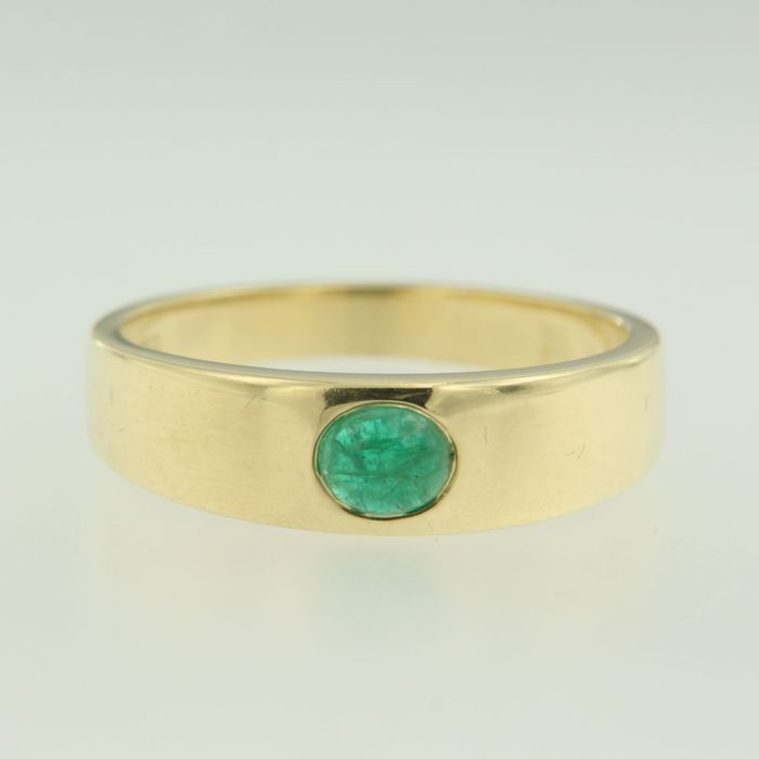 yellow gold ring set with emerald catawiki