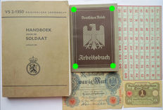 German Arbeitsbuch: 1st type from Zwickau + ration card + 2 Banknotes + Soldier's manual WW2