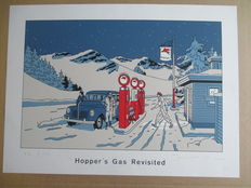 """Floc'h - Serigraph y Champaka - """" Hopper's gas Revisited """" (1992)"""