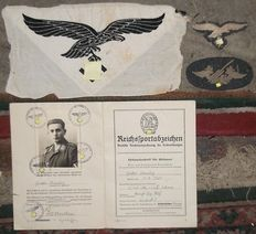 WW2 German Luftwaffe Sports Vest Eagle Achivement Book Breast Eagle and Flack Gunners Patch