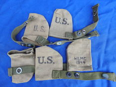 WW2 lot with 5 original 1944 muzzle covers for Garand and M1 carabine.