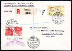 Switzerland 1946/1949 - 11 letters Airmail with Michel 438, 470 ,479 and 518 multiple