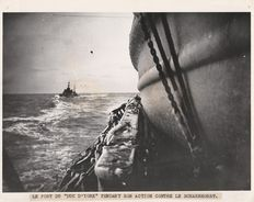 Set of 3 silver prints related to the destruction of the German Cruiser SCHARNHORST in 1943