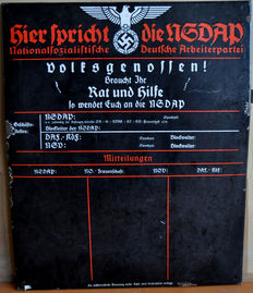 """Original and important National Socialist German Workers' Party enamel plate """"Rat und Hilfe"""" (advice and help)"""