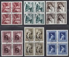 Liechtenstein 1950/1952 - Animals and Paintings- Michel 285/287 and 306/308 in blocks of four