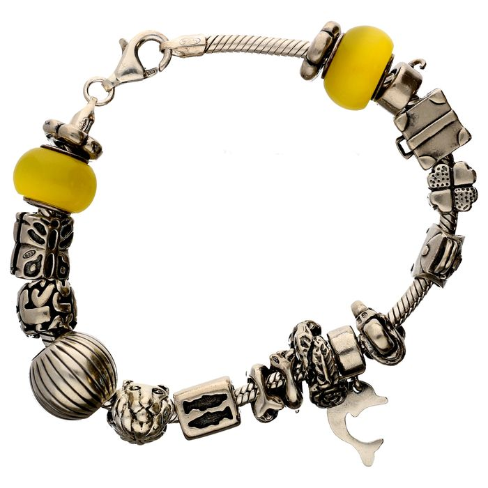 silver bracelet with 17 different charms like dolphin
