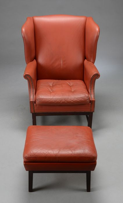 A red brown leather wing armchair fauteuil with ottoman probably england se - Fauteuil cinna ottoman ...