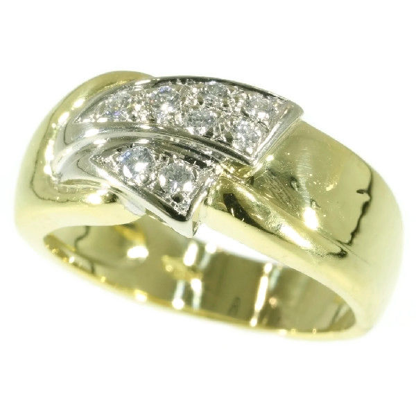 italian vintage gold engagement ring embellished with