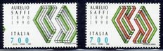 Italy 1990 - Centenario Saffi, variety without the colour red, with Bolaffi certificate - Sassone 1931a