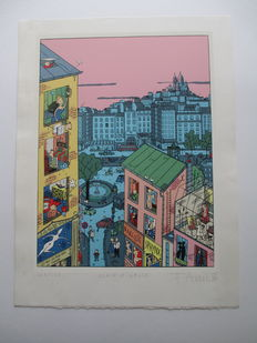 """Avril, François - Serigraphy Anagraphies """" Place Pigalle """" - ( 1986)"""