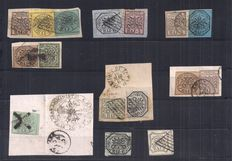 Papal State 1852 - Lot of stamps - Sassone 2, 3, 4, 5, 6, 7, 8, 9