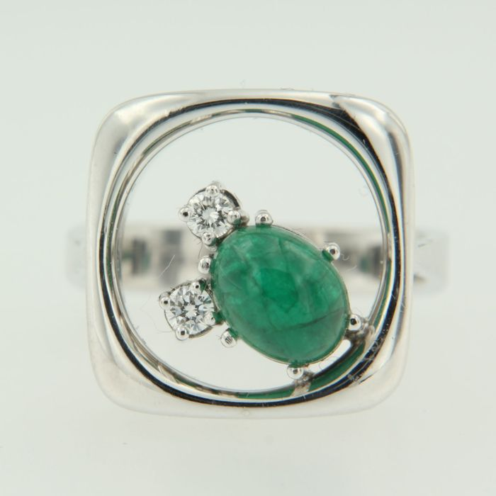 white gold ring set with emerald and catawiki