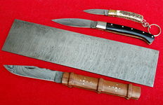 3 knives damascus and billet forged Damascus