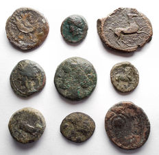 Greek Antiquity - Lot comprising 9 coins (MI and AE)