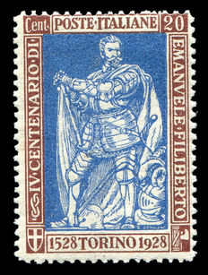 Italy 1928 - E Filiberto 20c perforated 13 and 3/4 - Sassone 230 with certificate