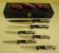 Set of steak knives in its original box and 3 multipurpose pocket knives, 1 genuine Swiss Army knife Victorinox