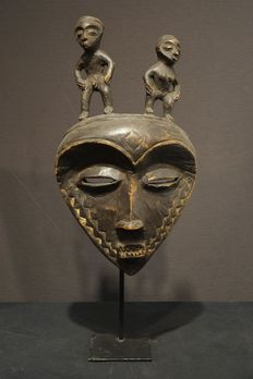 Seldom black Eastern PENDE mask with two figures - Democratic Republic Congo