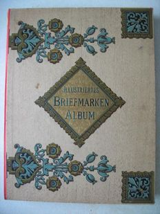 World - Illustrated Stamp Album from 1890 with Classic Stamps