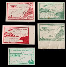 Colombia 1920 - Selection airmail issues by Compania Colombiana de Navegacion Area - Yvert 10/14