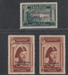 Italy Polish Military Corps - Selection of 3 values - Sassone airmail 1 and London Governement Sassone 4 and A1