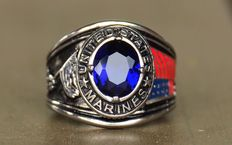 United States US Marines Ryan - men`s ring - stainless steel - Cubic Zirconia blue