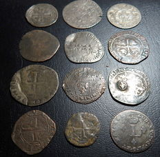 France - Lot with 12 billon coins 16th and 17th century