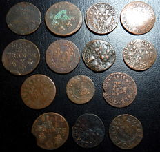 France - Lot of 14 copper coins, 17th century