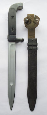 Russian/DDR black AK-47 bayonet with scabbard and holder - Cold War